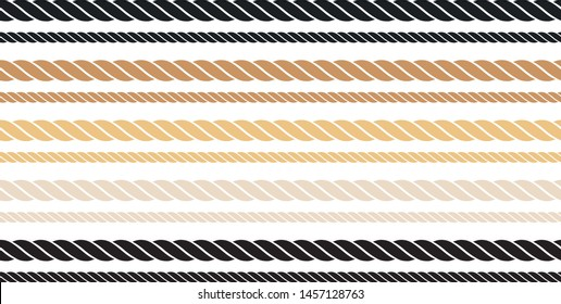 Seamless Rope Vector, black and brown line symbol on transparent background