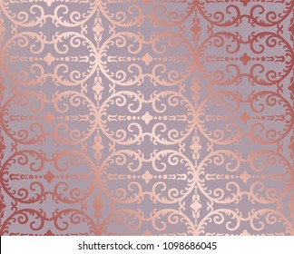 Seamless rose gold floral and foliage wallpaper pattern. This image is a vector illustration.