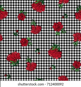 Seamless Rose Pattern on Gingham