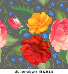Seamless rose pattern. Vector illustration
