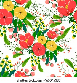 Poppy leaf images stock photos vectors shutterstock seamless rose and poppy flower blossom cluster seamless pattern beautiful background with tropical flowers mightylinksfo Choice Image