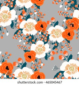 Seamless rose and poppy flower, blossom cluster seamless pattern . Beautiful background with tropical flowers and palm leaves, plant and leaf.