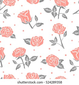 Seamless roses pattern. Vector floral background