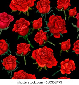 Seamless roses  vector pattern.