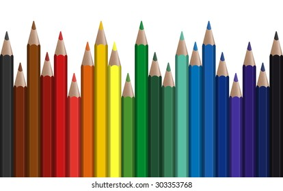 seamless row of different colored pens with white background
