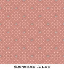 Seamless Royal pattern with fleur-de-lis. Polka dot print. Stylish vector texture