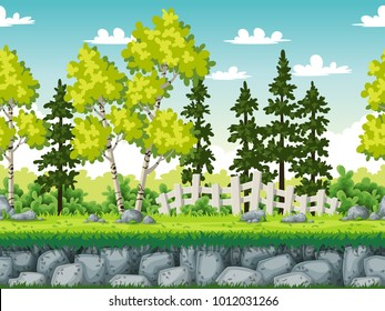 Seamless rural landscape. Vector illustration with separate layers.