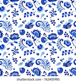 Seamless russian pattern blue with flowers, birds, berries, leaf. Vector illustration. Vector floral bouquet design. Wedding vector invite card.