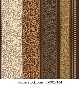 Seamless safari background. Stripped vector pattern. Leather effect. Leopard spots, reptile skin print. Brown, beige, golden shadows. Set of patterns. Textile, wallpaper, packaging. Art deco borders.