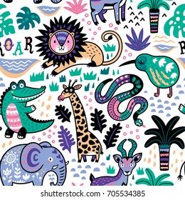Seamless safari pattern. Jungle animals with tropical plants background. Vector texture in childish style great for fabric and textile, wallpapers, backgrounds, cards design