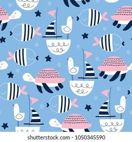 seamless sailing ships turtle seagull pattern vector illustration