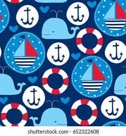 seamless sailing ships and whales pattern vector illustration