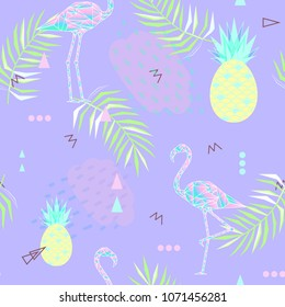 Seamless Sammer background. Punchy pastel. Trendy texture. Beautiful vector floral jungle summer background with pink flamingo, tropical fruits, palm leaf, vector