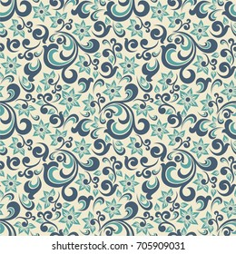 Seamless sand background with pattern in baroque style. Vector retro illustration. Ideal for printing on fabric or paper.