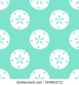 Seamless sand dollar vector pattern. Repeat summer background with shell elements. Trendy mint beach fashion print design. Modern illustration.
