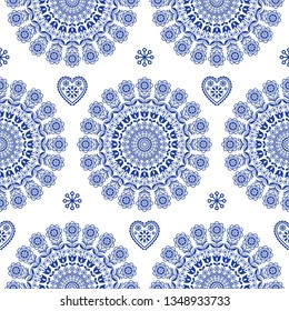 Seamless Scandinavian folk art vector mandala with flowers, floral repetitve ornament, Nordic design with flowers.   Retro navy blue textile background inspired by Swedish and Norwegian art