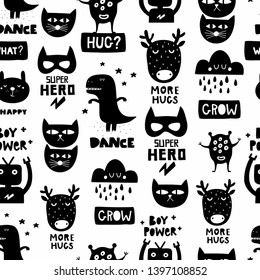 Seamless Scandinavian pattern in black and white colors for nursery surface design or print in fabric. Cool vector background with dinosaur, monster, cat and robot.