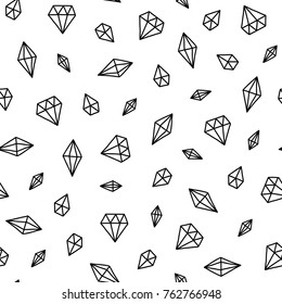 Seamless scandinavian pattern. Vector kids background with different crystals. Design for prints, shirts and posters.