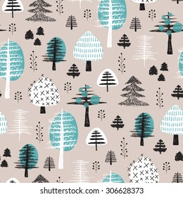 Seamless scandinavian style illustration forest tree christmas theme background pastel powder blue pattern in vector