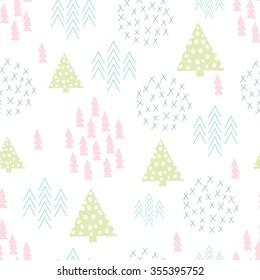 Seamless scandinavian style simple illustration christmas tree theme background