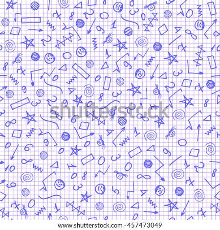 Seamless School Background Wallpaper White Background Stock Vector