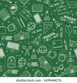 Seamless school pattern. Back to school. Black icons for education on green background. Blackboard. Design for posters, banners, labels. Vector illustration.
