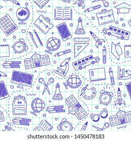 Seamless school pattern. Back to school. Blue icons for education on white background. Design for posters, banners, labels. Vector illustration.