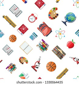 Seamless school set pattern. Different school supplies, stationery. Note globe paint calculator backpack clock ball apple building schoolbus atom. Vector illustration in flat style