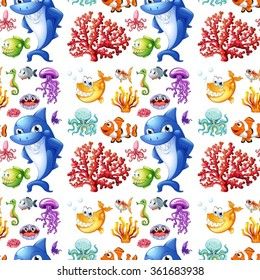 Seamless sea creatures and coral reef illustration