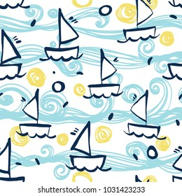 Seamless sea pattern with hand painted gouache ships. Background for greeting cards, invitations, kids decorations. Vector repeating texture.