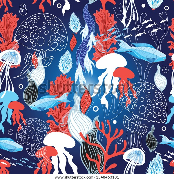 Seamless sea pattern with jellyfish and fish on dark background with algae