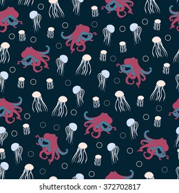 Seamless sea pattern with octopus and jelly-fish on dark background. Vector illustration for textile design, wallpaper and wrapping paper, web design, kid stuff and etc.