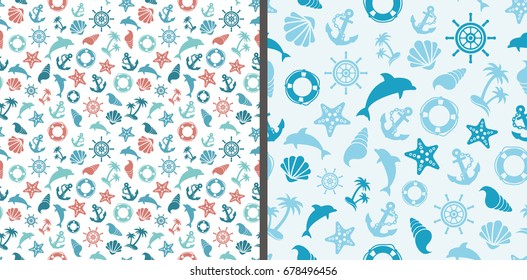 Seamless sea patterns with dolphins, anchor, sea star, shell, steering wheel and life-buoy