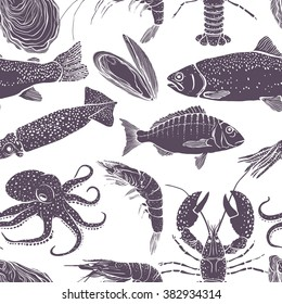 Seamless seafood pattern. Vector illustration.