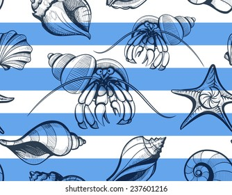 seamless seashell and crab hermit with stripes sketchy pattern vintage vector illustration