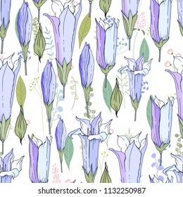 Seamless season pattern with blue bells. Endless texture for floral summer design