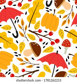 Seamless seasonal autumn vector pattern with theme elements. vector flat style. hand drawing. design for fabric, textile, print, wrapper.
