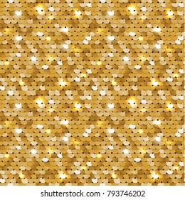 Seamless sequined golden texture of fabric with palliettes