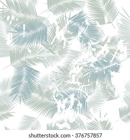 Seamless serenity blue repeat tender pattern with palm leaves with splashes