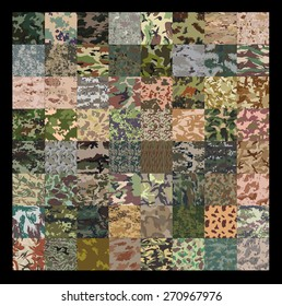 Seamless set of camouflage pattern vector. 64 Set of camouflage pattern.