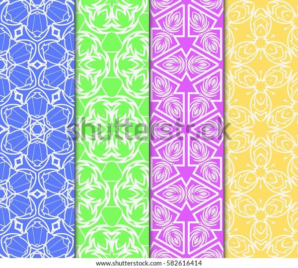 Seamless set floral pattern. vector illustration. color. For design, wallpaper, background fills, fill, card, banner, flyer. Ethnic ornament