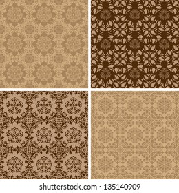 Seamless set four vintage vector backgrounds.