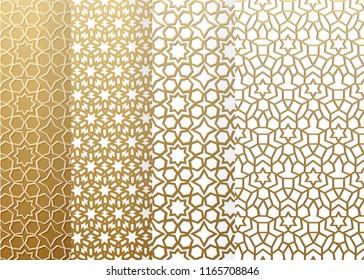 Seamless set geometrics pattern. Islamic pattern. arabic, east ornament, indian ornament, persian motif, 3D.  Ramadan Kareem gold greeting card, banner. geometric ornate, shining vector illustration.