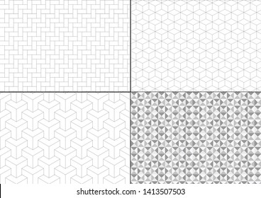 Seamless set of patterns. Black, white. Geometric texture. Vector art