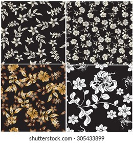 Seamless Set vector floral pattern. For easy making seamless pattern just drag all group into swatches bar, and use it for filling any contours.