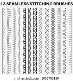Seamless sewing stitch brush vector illustrator set, different types of machine stitch brush pattern for fasteners, dresses garments, bags, Fashion illustration, Clothing and Accessories