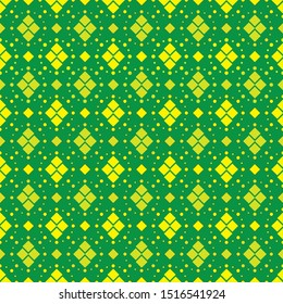 Seamless Sfrican vector pattern in shades of green