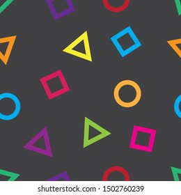 Seamless shape pattern with various colors