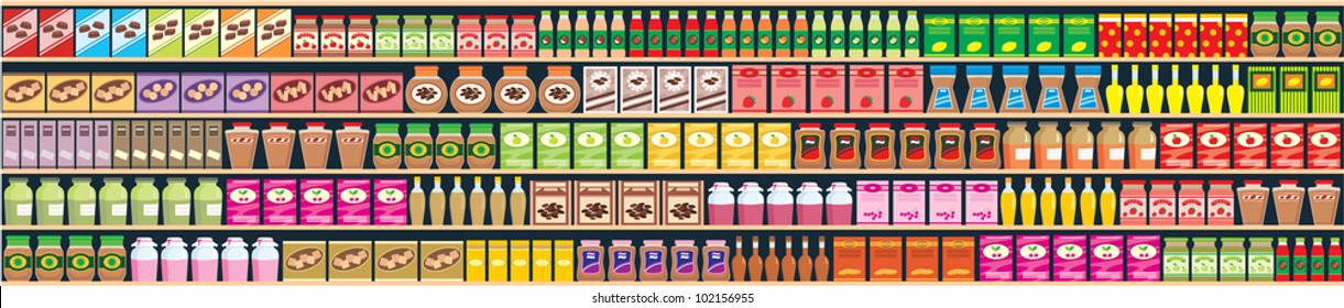 Seamless shelves with products banner. vector