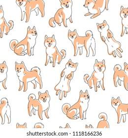 Seamless shiba inu pattern